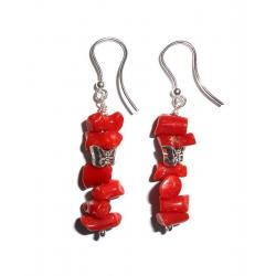 Rote Korallen und Silber Damenohrringe CR029