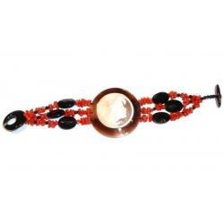 Rote Korallen und Onyx mit Kamee Damenarmband CR201