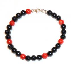 Rote Korallen und Onyx Damenarmband CR206