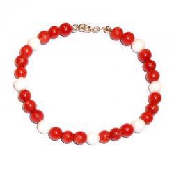 Rote Korallen und Weißer Achat Damenarmband CR207