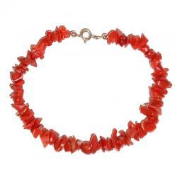 Rote Korallen und Silber Damenarmband CR218
