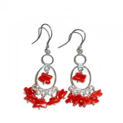 Rote Korallen und Silber Damenohrringe CR227