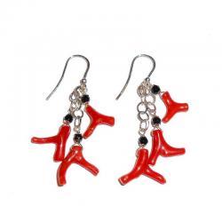 Rote Korallen Onix und Silber Damenohrringe CR229