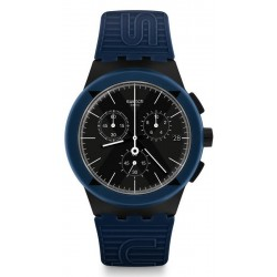 Swatch Unisexuhr Chrono Plastic X-District Blue SUSB418
