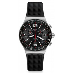 Swatch Herrenuhr Irony Chrono Very Dark Grid YVS461 Chronograph